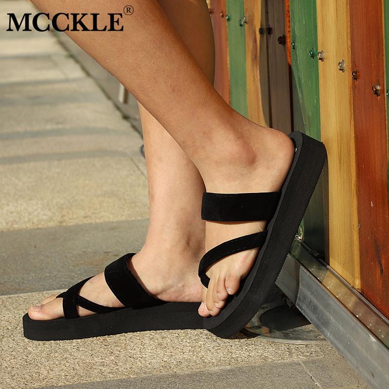 MCCKLE Women Summer Flip Flops Platform Wedge Heels Slippers Plus Size Female Outside Solid Beach Slipper Shoes Leisure Footwear plus size leisure beach espadrille wedge heel sandals