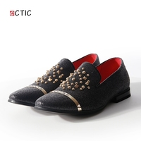 ECTIC 2018 New Classic Rhinestones Glitter Gold Decor Men Loafers Slipper Formal Shoes Wedding Dress Men
