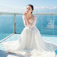 Top Quality Women Summer White Maxi Long Dresses Lace Embroidery Mesh Fairy Dress Floor Length Long