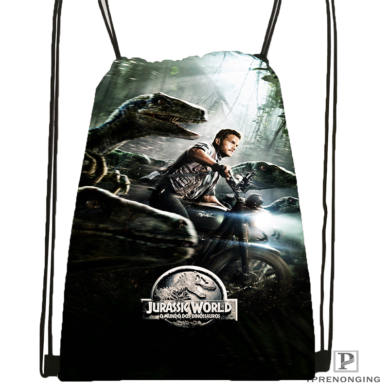 Custom Jurassic Park Drawstring Backpack Bag Cute Daypack Kids Satchel (Black Back) 31x40cm#180531-03-58
