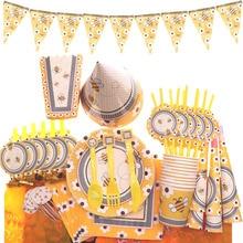 Милая желтая посуда с пчелами Наборы украшения для дня рождения Дети партии одноразовая салфетка бумажные тарелки стаканчики вечерние принадлежности