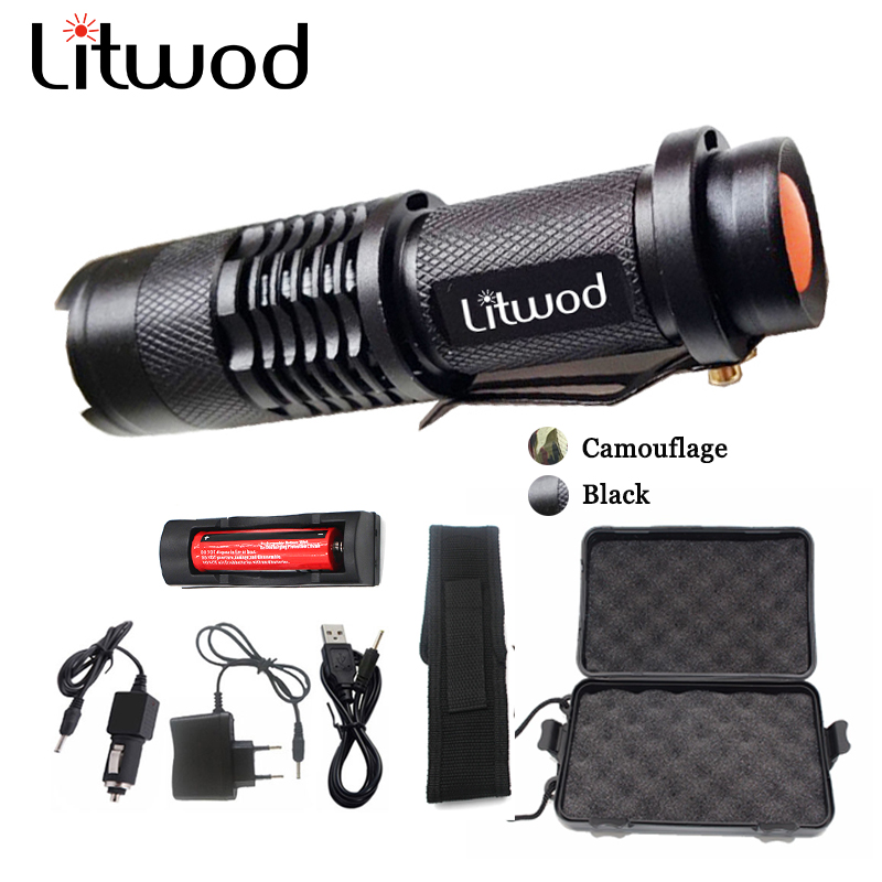 Z30 Litwod Mini Zoom cree XML T6 Flashlight Led Torch 5 mode 3800 Lumens waterproof 18650 Rechargeable battery albinly led flashlight zoom cree xml l2 led torch 5 mode 8000 lumens waterproof use 18650 rechargeable battery sent free gift