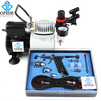 OPHIR Pro Airbrush Compressor with Fan Kit 0.3mm,0.5mm,0.8mm Spray Gun Set/Airbrush Kit for Furniture/Crafts Paint _AC114+AC069