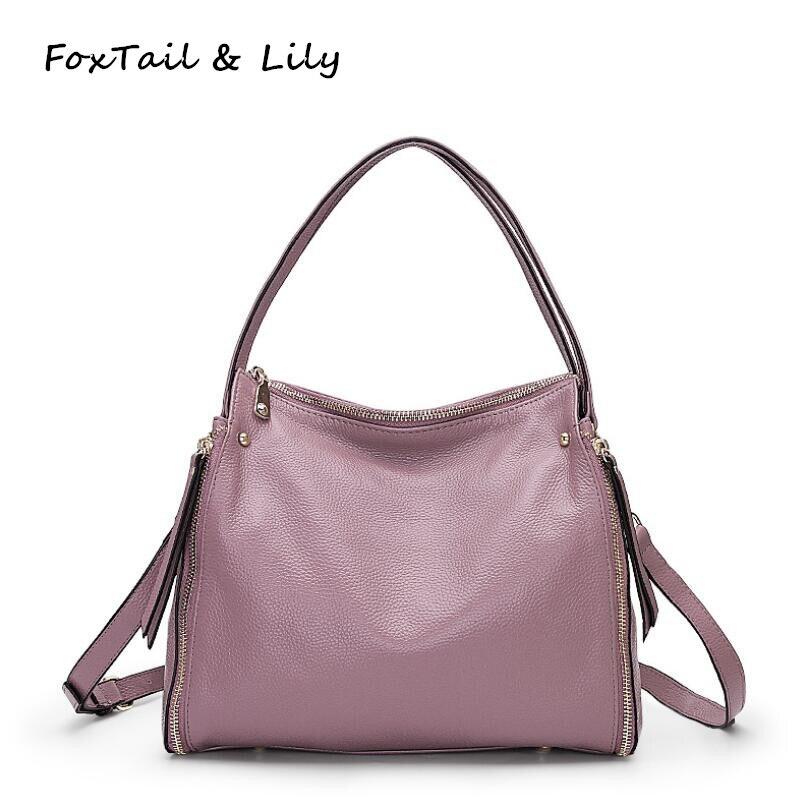 купить FoxTail & Lily Luxury Designer Real Soft Leather Handbags Women Genuine Leather Shoulder Crossbody Bag Lady Tote Messenger Bags по цене 3641.27 рублей