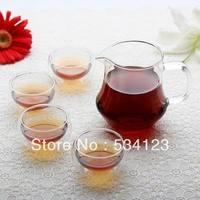 Vendita calda! doppia parete in vetro soffiato teiera set comprende 4 pz 50 ml tazze di tè + 1 pz 400 ml teiera trasparente calore reistant cucina freeship
