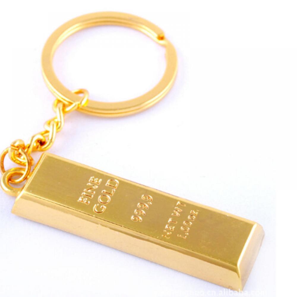 Faux 1oz Gold Bar Ingot Bullion Keyring Keychain Keyfob Key Ring Chain