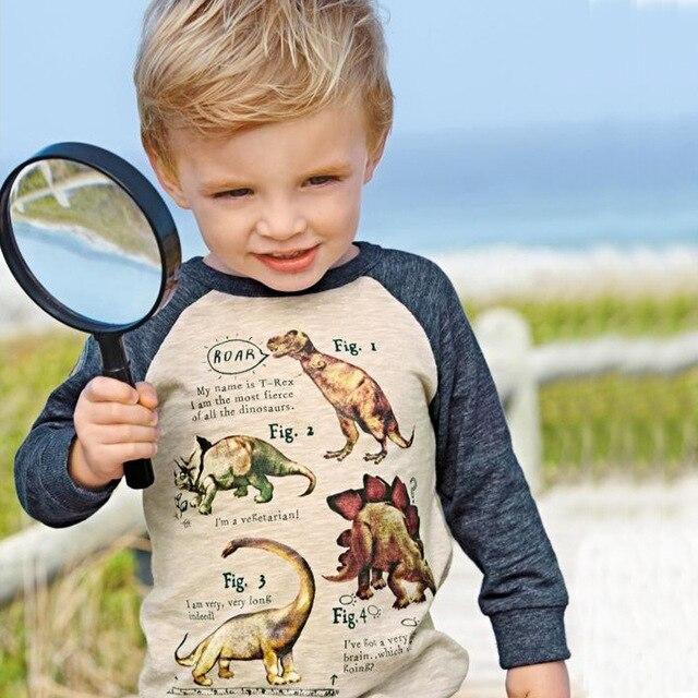 2-7 years Boys T-shirt Kids Tees Baby Boy brand t shirts Children tees Long Sleeve 100% Cotton cute dinosaur shirts