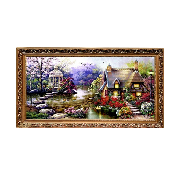 diy handmade cross stitch embroidery garden cottage design kits for home decoration embroidered cloth 68 38cm