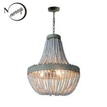 Retro loft vintage rustico rotondo perline di legno del pendente lampada E27 ha condotto la lampada a sospensione decorazione luci moderne per living room hotel cucina