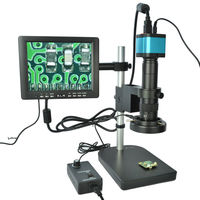 Full Set 14MP Industrial Microscope Camera HDMI USB Electron Video Microscope with Screen Light