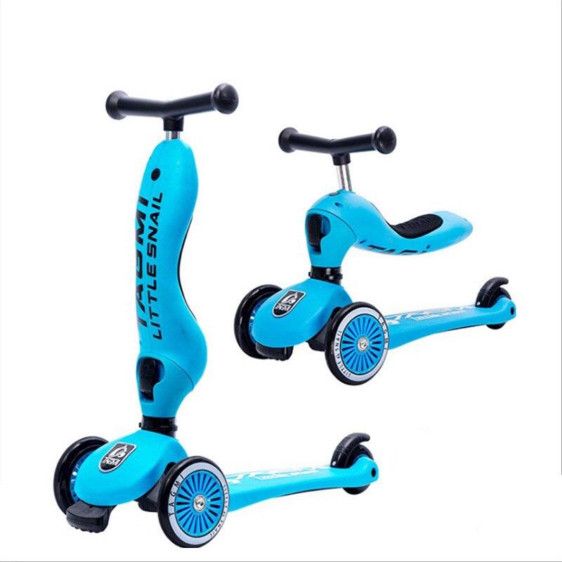 Tagmi pequeno caracol scooter combo uma chave conversão crianças três roda scooter montar uma bicicleta ao ar livre diversão esporte