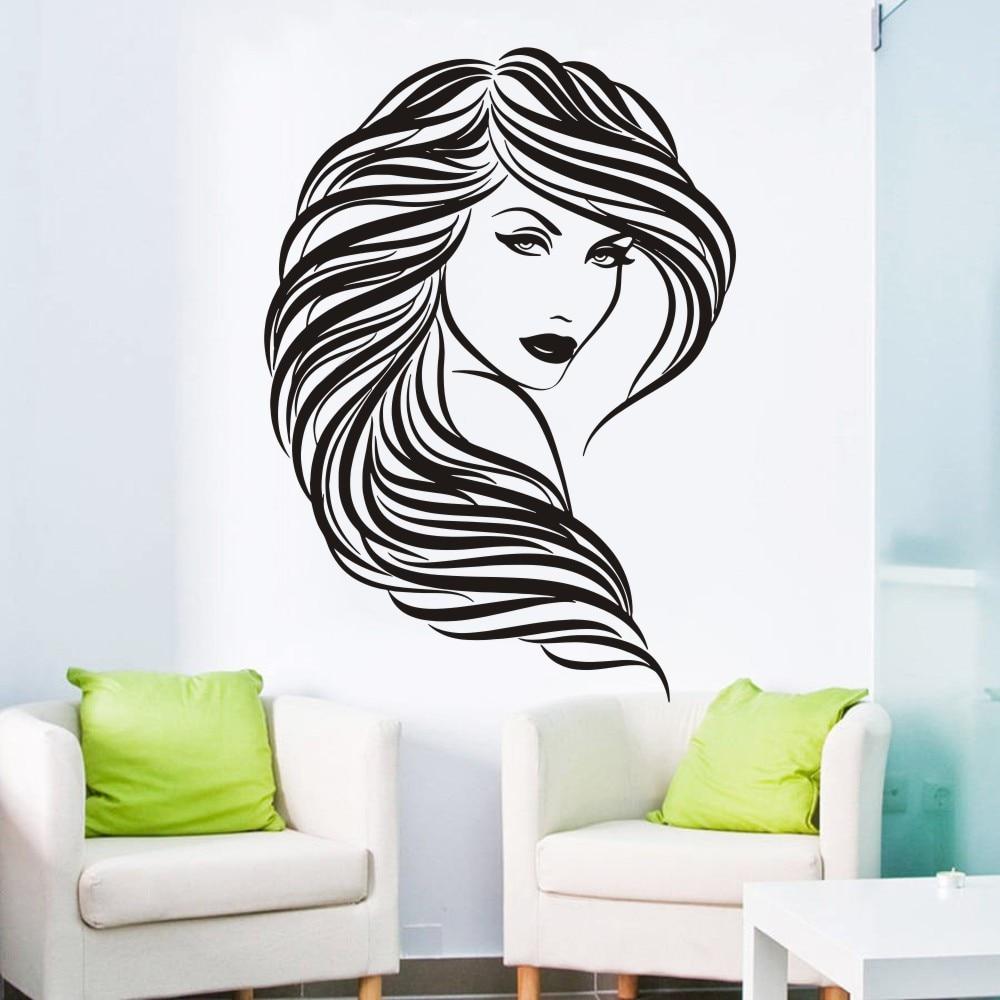 Populární Krása Vlasy Salon Nástěnná Nálepka Vinylová Umělecká Samolepka Žena Obličejová Fototapeta Vyjímatelná Místnost Dekorace Samolepky na zeď ES-53