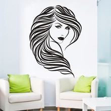 Popular Beauty Hair Salon Wall Decal Vinyl Art Sticker Woman Face Cut Mural Removable Room Decor Stickers ES-53