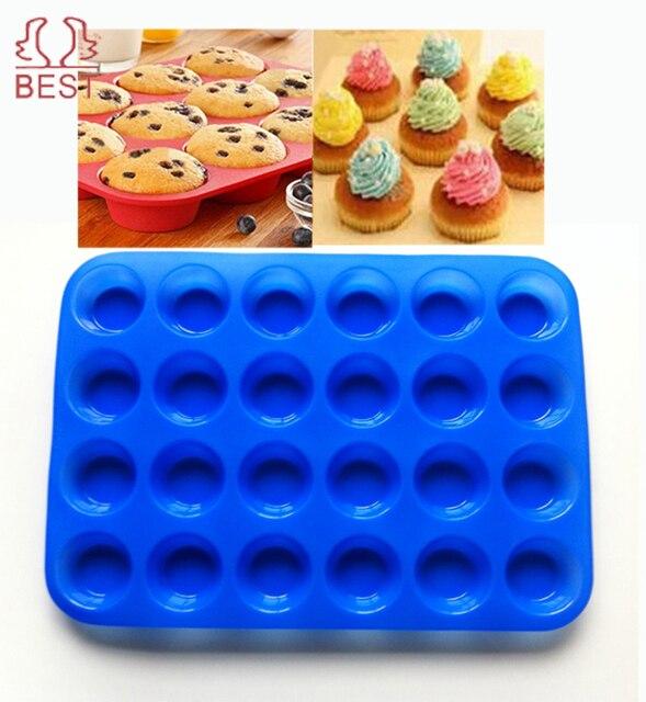 mini muffin tasse 24 cavité silicone savon biscuits gâteau