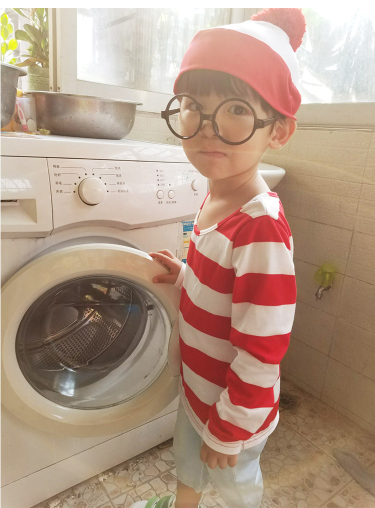 Kids Cute Where is Wally Costume Boys Girls Where's Waldo Cartoon Cosplay Outfit Shirt With Glasses and Hat