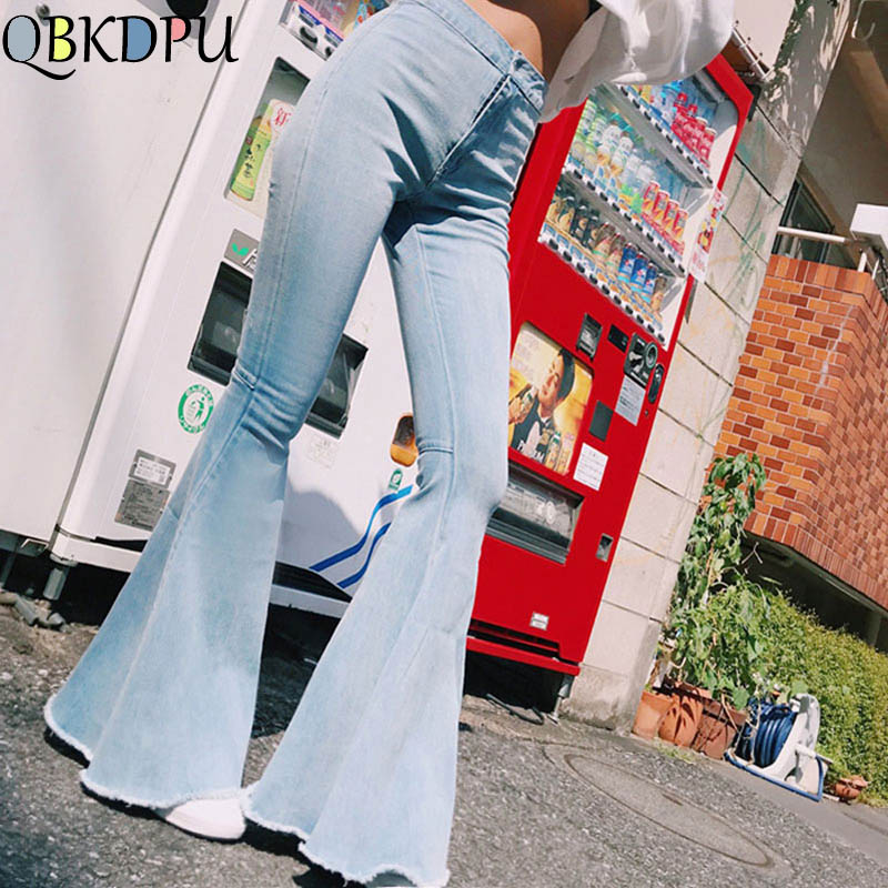 Fashion High Waist Plus Size Flare   Jeans   Women Bell Bottom Denim Ladies Skinny   Jeans   2019 Retro Female Wide Leg Pants Trousers