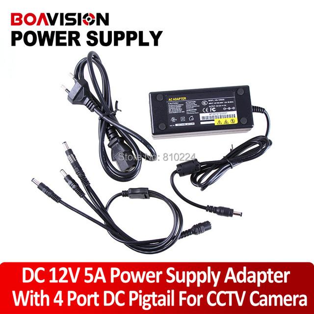12 V 5A fuente de Alimentación de $ NUMBER CANALES CCTV Power Box Cámara 4 Puerto DC Pigtail CAPA DC 12 V Potencia adaptador