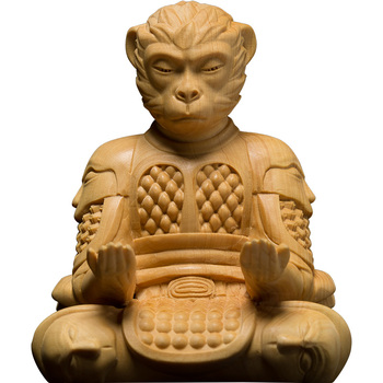 Qitian Dasheng Crafts Fighting Victory Buddha Monkey King Woodcarving Decoration Boxwood Creative Mobile Phone Stand Sun Wukong
