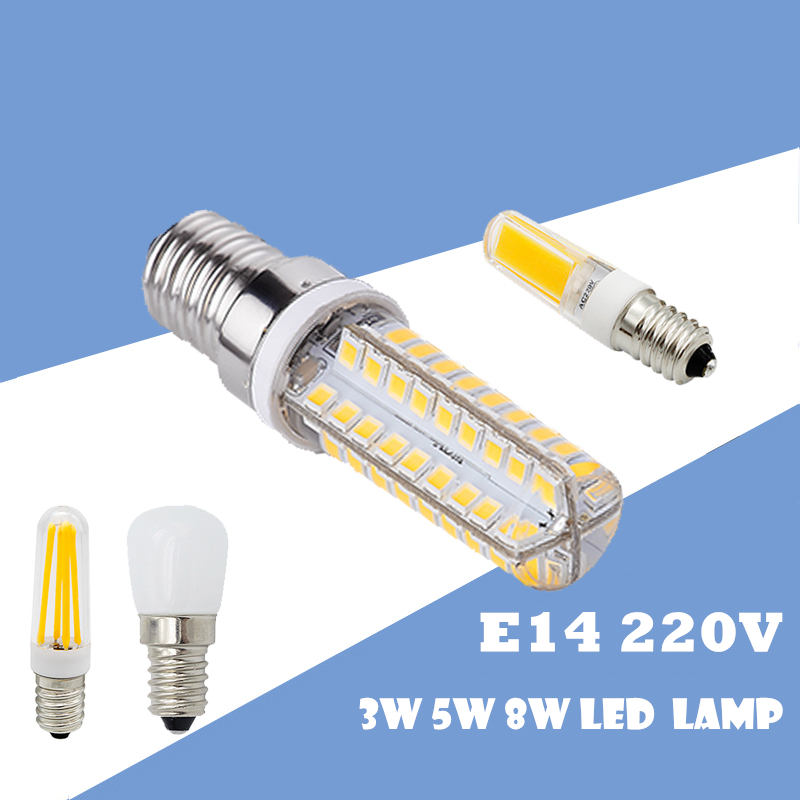 מיני 1 יחידות מקרר אור אורות E14 LED מנורת 2 w 3 w 4 w 5 w 6 w 8 w 2835 3014 SMD נורות 2609 COB AC 220 v אורות