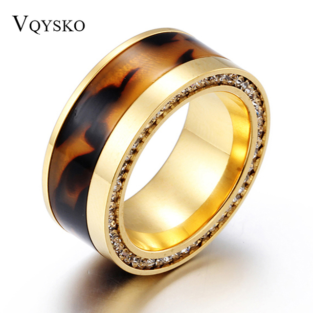 10mm Width Brand Design Rhinestone 316L Stainless Steel Rings For Women Gold Col