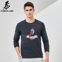 Pioneer Camp New Arrival Men T Shirt Brand Clothing Bird Printing Simple Comfortable T Shirt Male