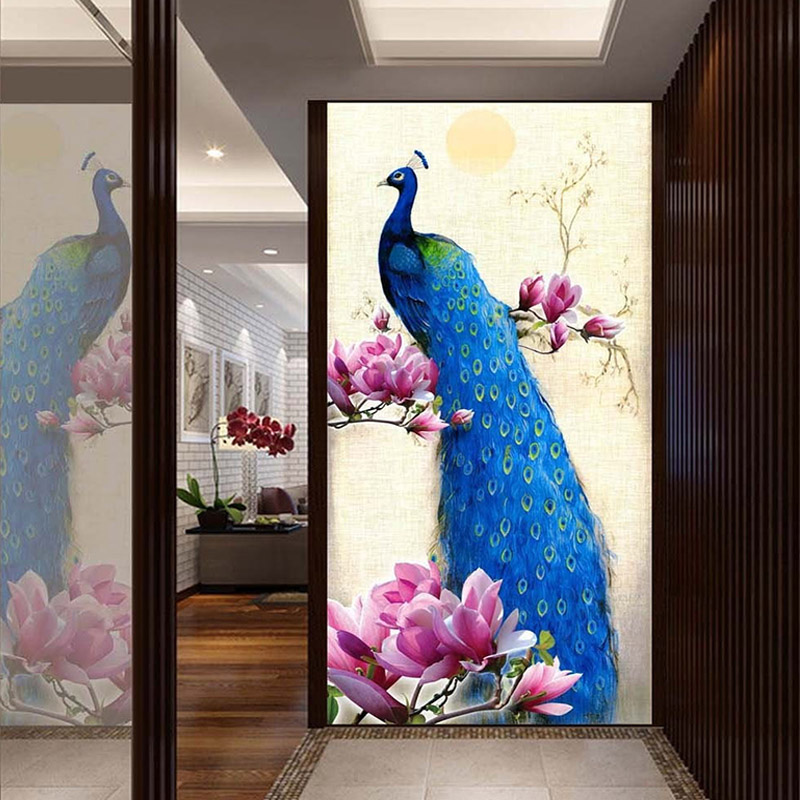 Modern Simple Blue Peacock Flowers Photo Wallpaper Hotel Hall Gallery Living Room Entrance Home Decor 3D Mural Papel De Parede