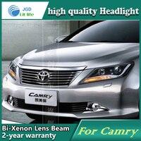 Автомобильный Стайлинг корпус передней фары для Тойота Камри 2012 2013 2014 светодиодный фары DRL дневные ходовые огни Биксеноновые HID аксессуары