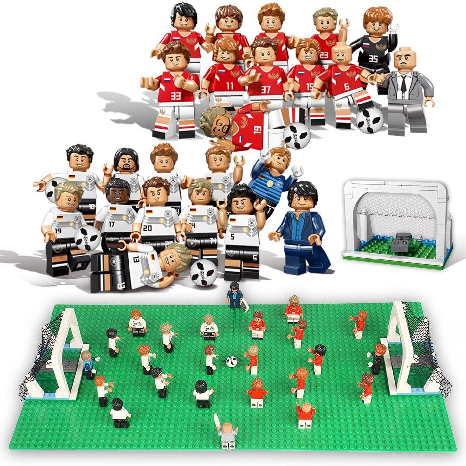 12pcs World Football Team Soccer Player Figures Building Blocks Compatible Legoing Bricks Russia German Figures Children Toys стоимость