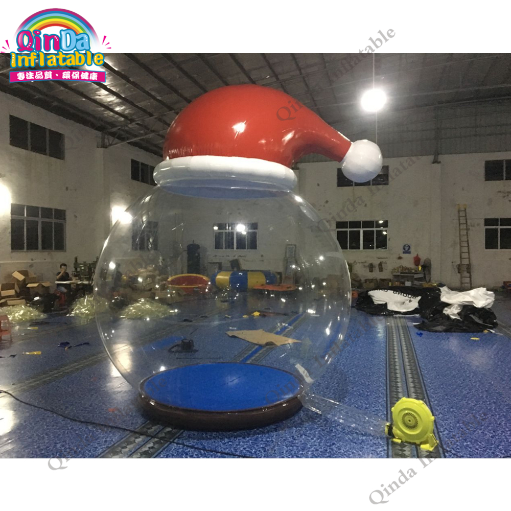 3.6m height Christmas decorations inflatable snow ball with santa hat ,Xmas inflatable transparent globe for photo booth giant christmas inflatable santa inflatable christmas father large santa claus free shipping