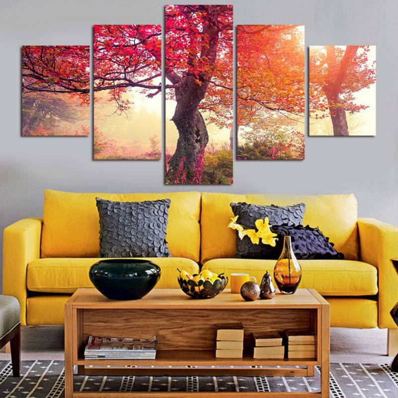 Aliexpress.com : Buy Unframed 5pcs Canvas Painting Purple Red Maple ...