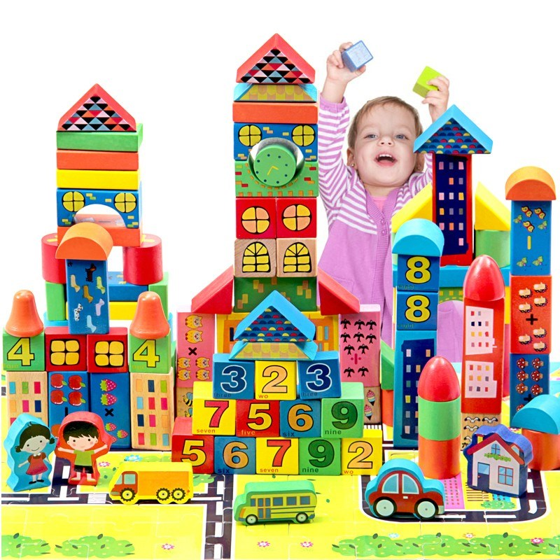 Building Blocks Game DIY Toy City Bricks Color Graphic Number Recognition Children Early Educational Training Exercise Plaything bi color triangle ru bun lock children puzzle toy building blocks