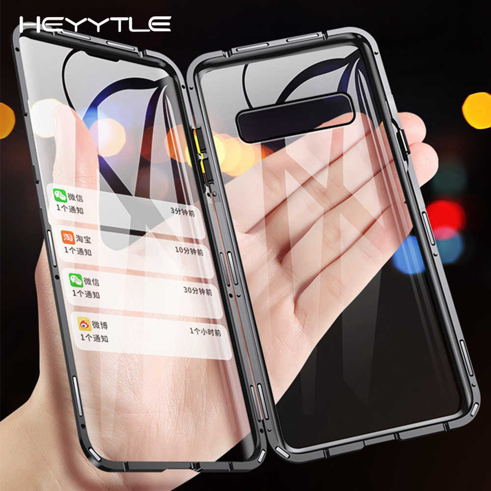 Heyytle Double Sided Glass Magnet Case For Samsung Galaxy S8 S9 Plus S10E Metal Magnetic Case For Samsung Note 8 9 360 Full Case