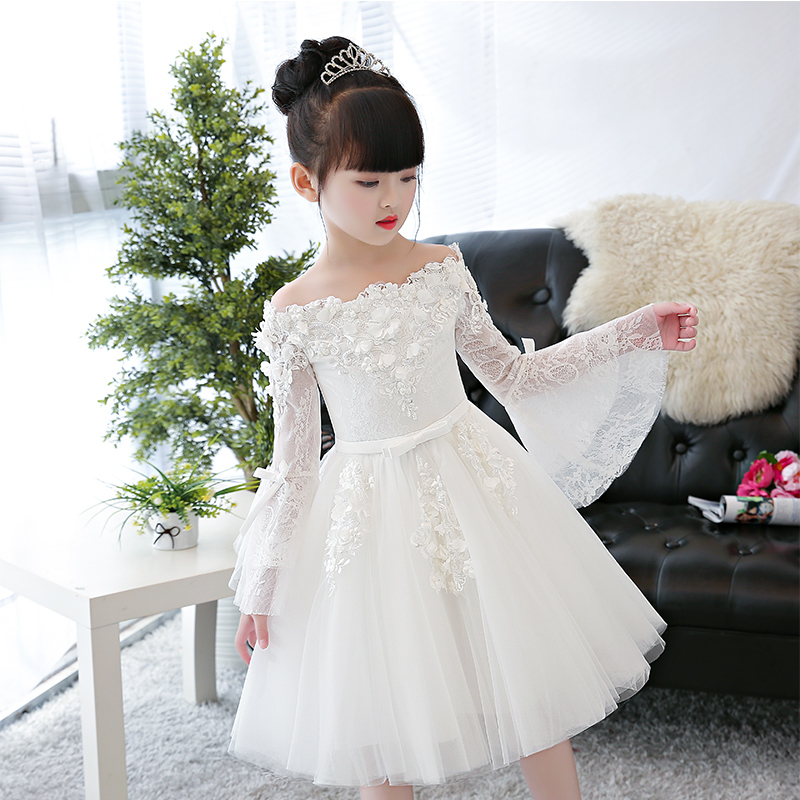 New Luxury Children Girls Fashion Shoulderless Princess Lace Ball Gown Mesh Dress Kids Birthday Wedding Party Puff Sleeve Dress muqgew new fashion 2018 children party