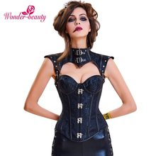ba88ae075c Wonder Beauty Sexy Waist Corset Steampunk Top Gothic Leather Steel Bones  Chain Lace Up Bandage Overbust Vintage Corsets-G