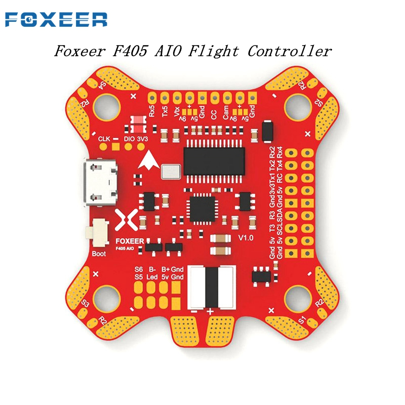 купить Foxeer F405 AIO Betaflight Flight Controller STM32 MPU6000 OSD Built-in 5V/2A BEC PDB Camera Control For RC Models Drone Parts по цене 2713.1 рублей