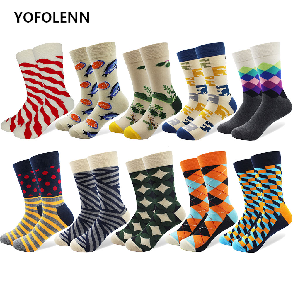 10 pairs/lot Funny Mens Colorful Combed Cotton Socks Casual Dress Socks Fish Argyle Striped Pattern Crew Crazy Socks Gift
