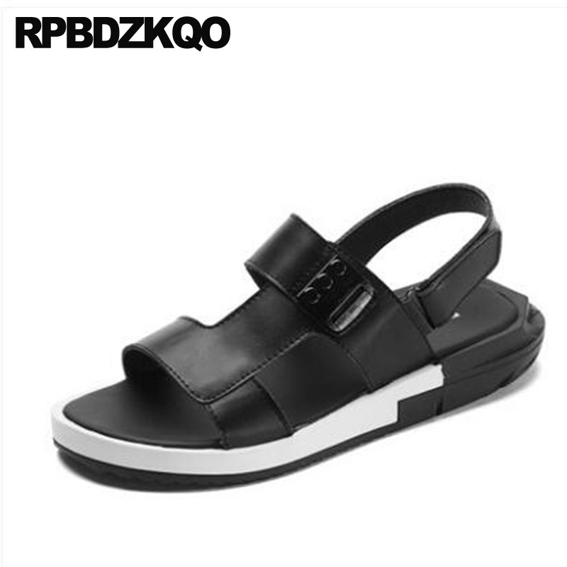 ac34c1175f76a Genuine Leather Sneakers Slides Roman Outdoor Slippers Runway Shoes Men  Gladiator Sandals Summer Brown Breathable Sport Black