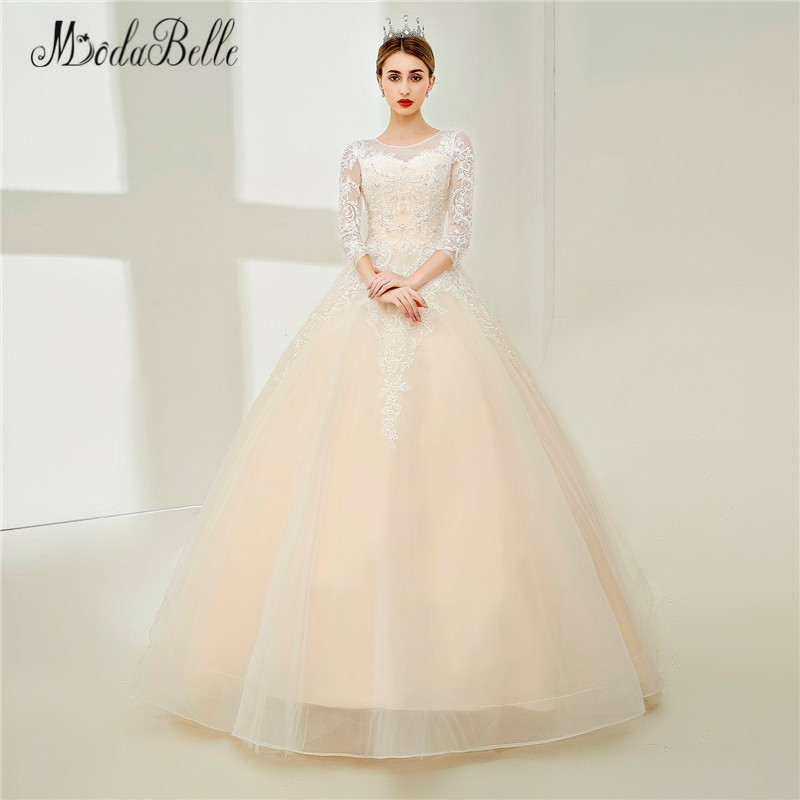 Modabelle Champagne Vintage Lace Wedding Dress With