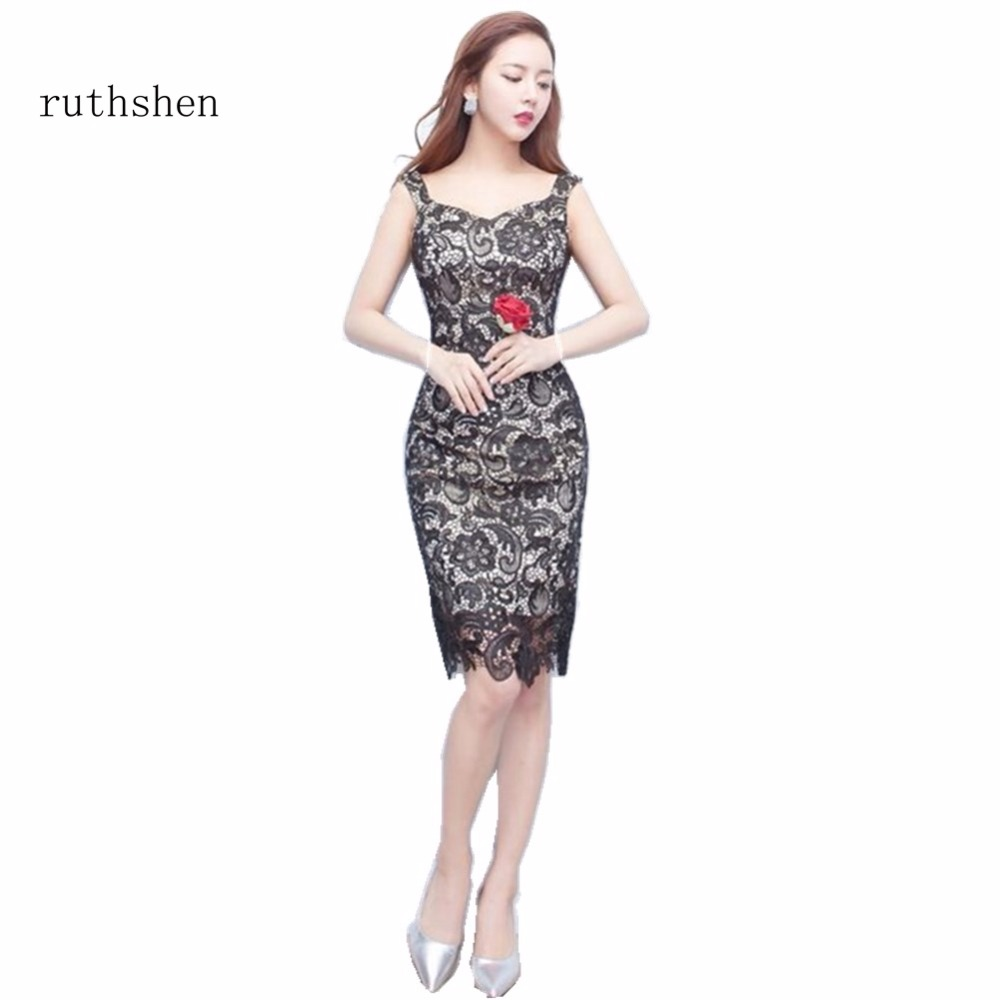 ruthshen Robe De Soiree Short Black Short   Cocktail     Dresses   2018 Straps Appliques Cut-out Vestidos Coctel Knee Length Party   Dress