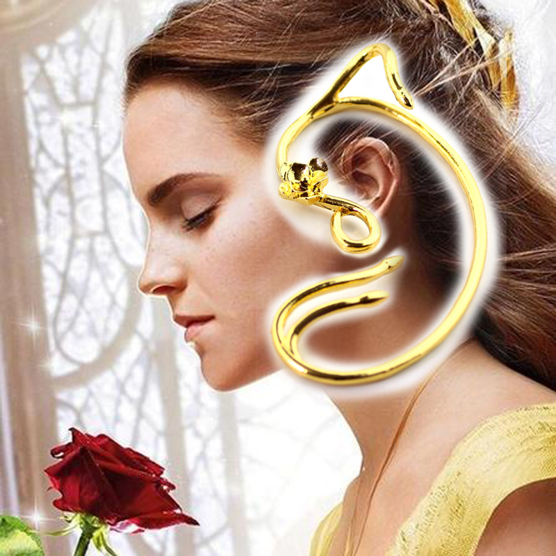 Drop Shipping Beauty and the Beast Earrings Ear Cuff Belle Cosplay Jewelry Gold Color Ro ...