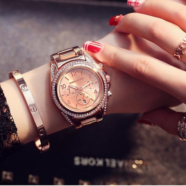 Hannah Martin Bayanlar Saatler Top Marka Lüks kadın Saatler Elmas Moda Gül Altın İzle Kadınlar Saatler Saat reloj mujer