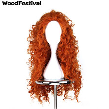 WoodFestival brave wig cosplay orange long hair heat resistant synthetic wigs curly
