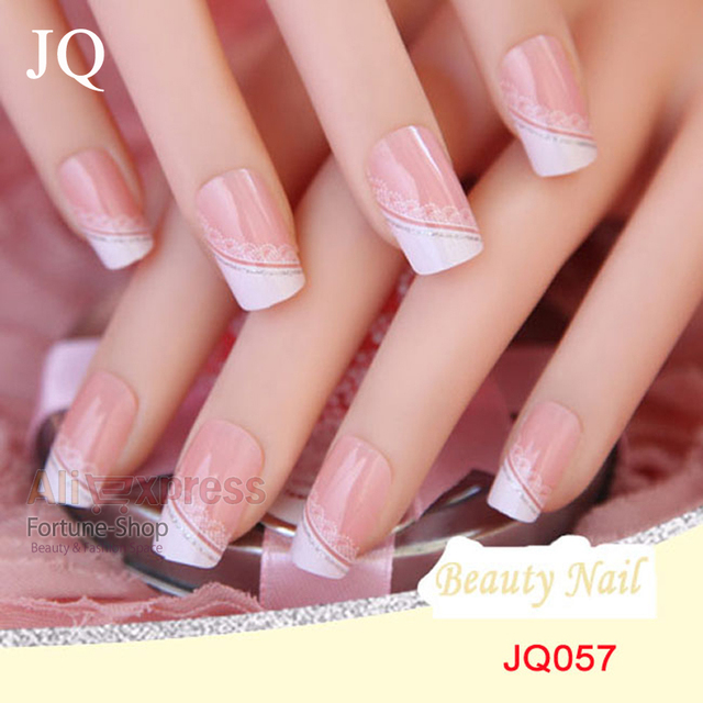 Jq 24pcs Set Acrylic Nails False Nail Full Fake French Tips Pre