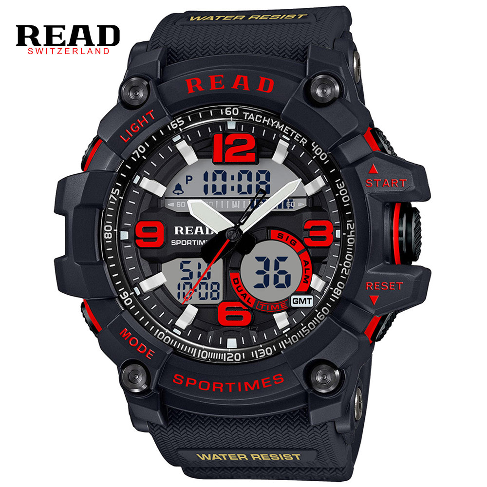 Relogio Masculino READ Men Sports Watches Waterproof Fashion Quartz-Watch Digital Dual Time Zones Military Sports Men's Watches