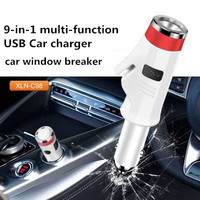 9 in 1 multi function Flashlight USB Car charger safety hammer car emergency charger car window breaker car supplies