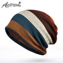 [aetrends]   double layers cotton striped hip hop skullies winter warm hats scarves beanies headgear z-5004