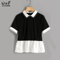 Dotfashion Two Tone Frill Hem Short Sleeve Blouse 2017 Black And White Contrast Collar Button Women