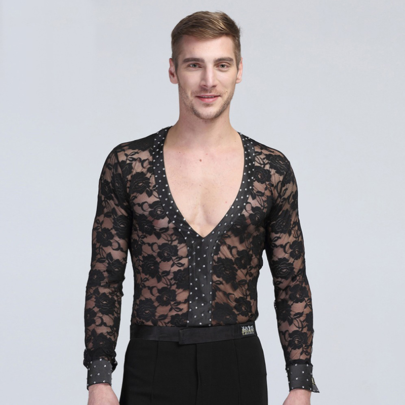 2018 Competition Tops Latin Dance Top Sexy Male Shirts Dress For Flamenco Sexy Ballroom Dresses Vestido