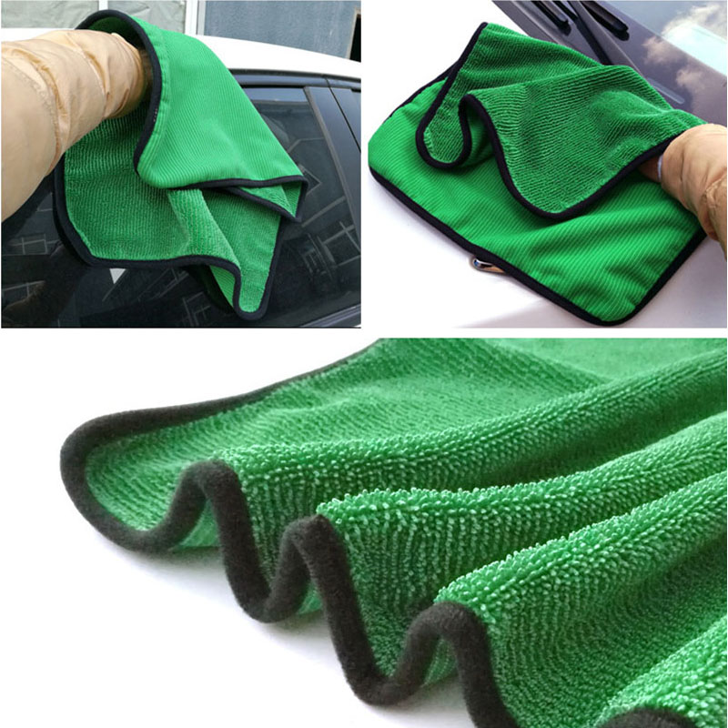 Image 3 - 1psc 40*60 Green Car Wash Microfiber Towel Car Cleaning Tool Detailing Dry Cloth Car Care  Never Scratch Wax Towel-in Sponges, Cloths & Brushes from Automobiles & Motorcycles