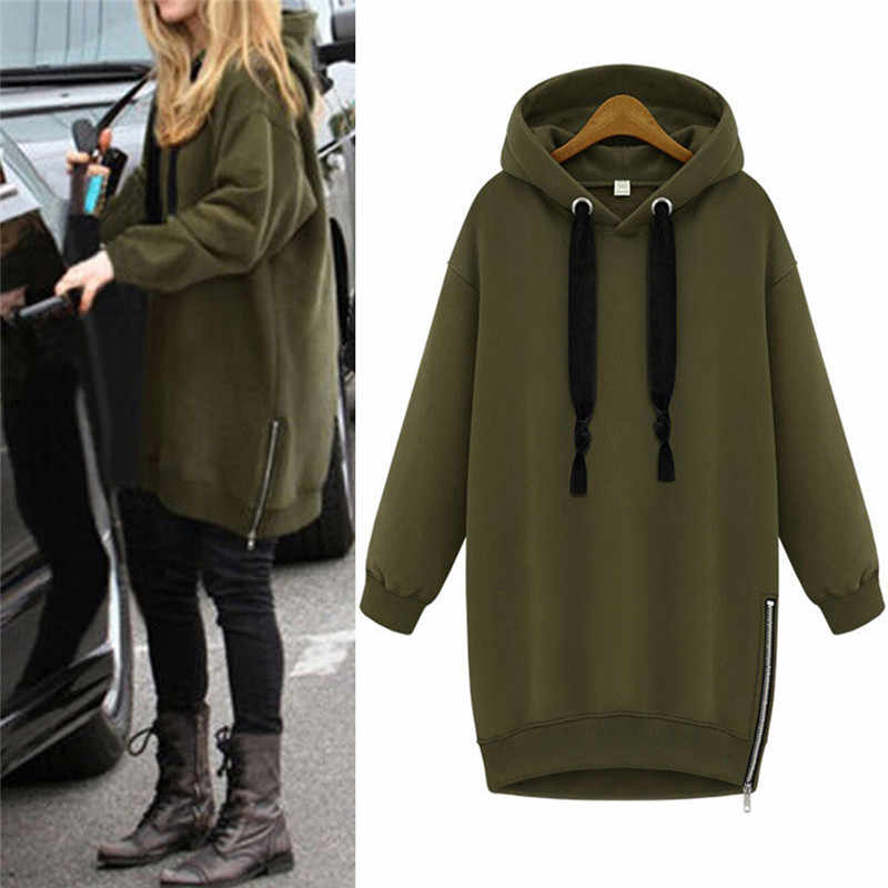 6ff4f1e278b Hooded Loose Casual Warm Hoodies Sweatshirt Oversized Spring Autumn Women  Long Sleeve Black Green Plus Size